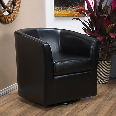 Noble House Poole Bonded Leather Club Chair Black Single (296637)