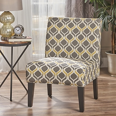 Noble House Hillary Fabric Dining Chair Yellow and Gray Single (297288)