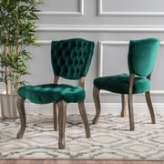 Noble House Galloway New Velvet Dining Chair Dark Green (Set of 2) (299586)