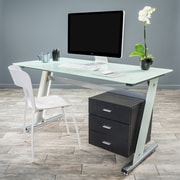 Noble House Olivia Computer Desk White & Silver (295569)