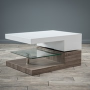 Noble House Maynard Coffee Table Glossy White with Dark Sonoma (295371)