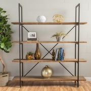 "Noble House Westfield 4 Shelf Bookcase 79""H Rustic Antique (298453)"