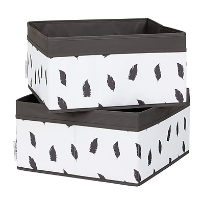 South Shore Storit White/Grey Baskets Feathers Print, 2-Pack (100212)