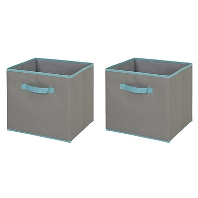 South Shore Crea Gray and Turquoise Fabric Storage Bin, 2-Pack, Large Size (8050158)