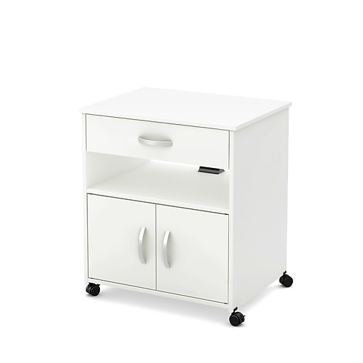 """South Shore Axess 26"""" Microwave Cart on Wheels, Pure White (10012)"""