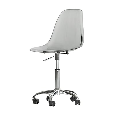 South Shore Annexe Acrylic Office Chair with Wheels, Clear Smoked Gray, Armless (100214)