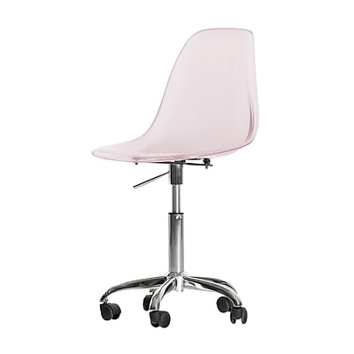 South Shore Annexe Acrylic Office Chair with Wheels, Clear Pink Blush, Armless (100237)