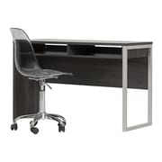 South Shore Interface Gray Oak Interface Desk with Clear Smoked Gray Office Chair With Wheels (100216)