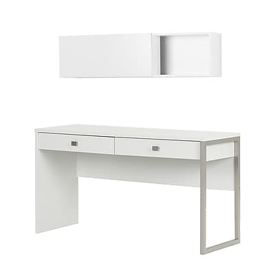 South Shore Interface Desk with 2 Drawers and Wall Mounted Storage Unit, Pure White (11249)