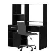 South Shore Annexe Pure Black Desk and Gray Office Chair with Quilted Seat (100211)