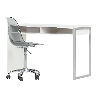 South Shore Interface Pure White Interface Desk with Clear Smoked Gray Office Chair With Wheels (100215)
