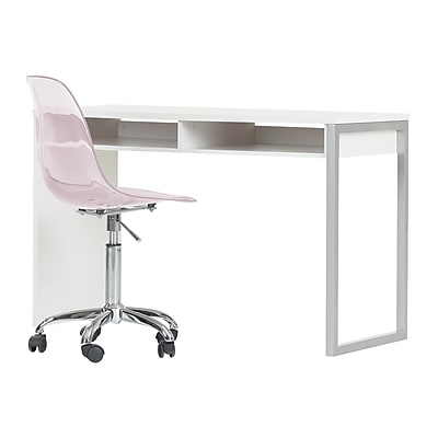 South Shore Interface Pure White Interface Desk with Clear Pink Blush Office Chair With Wheels (100238)