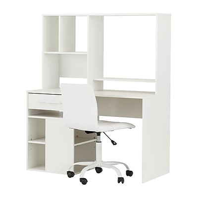 South Shore Annexe Pure White Desk and White Office Chair with Quilted Seat (100209)