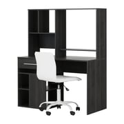 South Shore Annexe Gray Oak Desk and White Office Chair with Quilted Seat (100208)