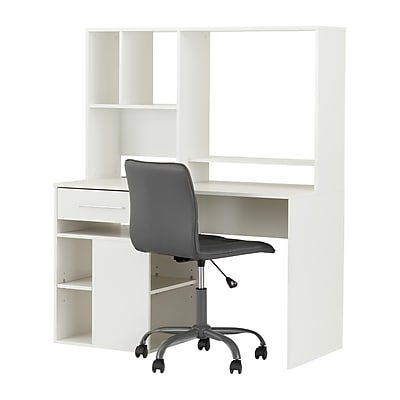 South Shore Annexe Pure White Desk and Gray Office Chair with Quilted Seat (100210)