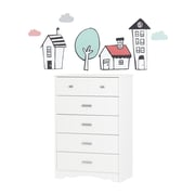 South Shore Tiara Pure White and Pink 5-Drawer Chest with Night Garden House in the Hood Wall Decals (100184)