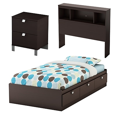 South Shore Spark 3-Piece Kids Bedroom Set, Twin, Chocolate (3259A3)