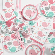 Creative Converting Pink Baby Whale Baby Shower Kit, 1 pk (DTC2565E1S)