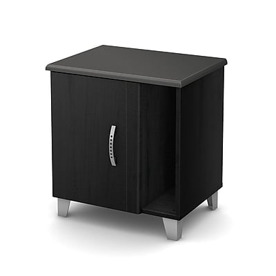 South Shore Lazer Nightstand with Storage, Black Onyx (9005063)