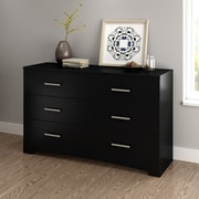 South Shore Gramercy 6-Drawer Double Dresser, Pure Black (10447)