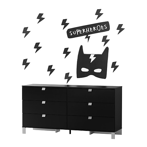 south shore spark pure black 6 drawer double dresser with