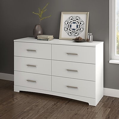 South Shore Gramercy 6-Drawer Double Dresser, Pure White (10450)