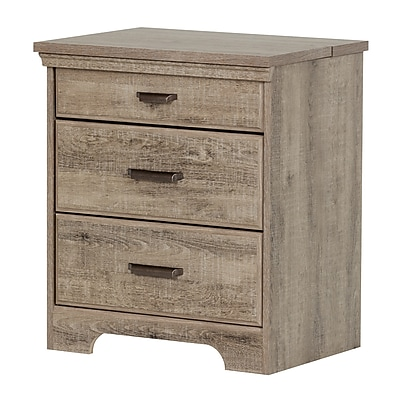 South Shore Versa Nightstand with Charging Station and Drawers, Weathered Oak (10555)