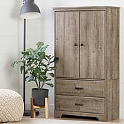 South Shore Versa 2-Door Armoire with Drawers, Weathered Oak (10607)