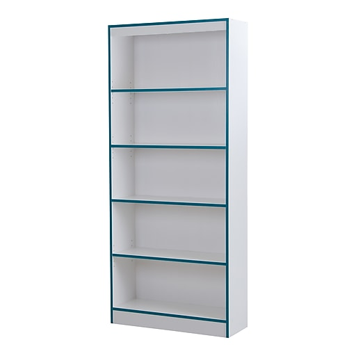 South Shore Axess 5 Shelf Bookcase Pure White And Turquoise 9040768