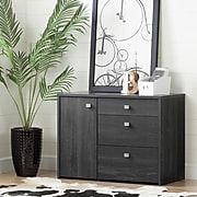 South Shore Interface Storage Unit with File Drawer, Gray Oak (10539)