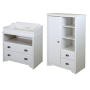 South Shore Fundy Tide Changing Table and Armoire with Drawers, Pure White (9023B2)