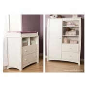 South Shore Beehive Changing Table with Removable Changing Station and Armoire with Drawers, Pure White (3640B2)