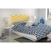South Shore Step One Pure White Queen Storage Platform Bed (60'') with Yellow Chevron Headboard Wall Decal (8050090K)
