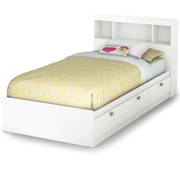 South Shore Spark Twin Storage Bed and Bookcase Headboard, Pure White (3260B2)
