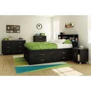 South Shore Lazer Full Captain Bed (54'') with 4 Drawers, Black Onyx