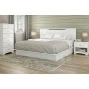 """South Shore Step One King Platform Bed (78"""") with Drawers, Pure White (3160237)"""
