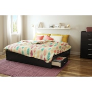 "South Shore Step One King Platform Bed (78"") with 6 Drawers, Pure Black (3107249)"