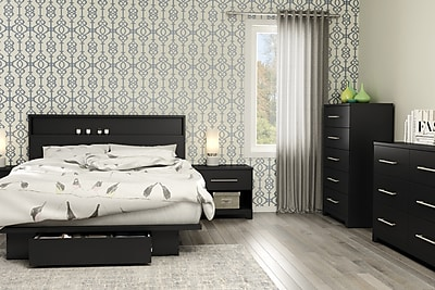 South Shore Primo Full/Queen Platform Bed (54/60'') with Drawer, Pure Black (3307A1)