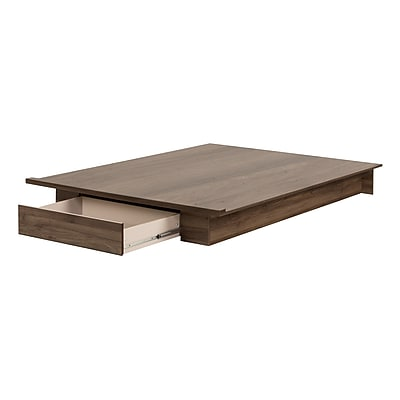 South Shore Holland Full/Queen Platform Bed (54/60'') with drawer, Natural Walnut (11283)