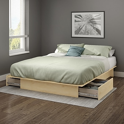 South Shore Gramercy Full/Queen Platform Bed (54/60'') with drawers, Natural Maple (10221)