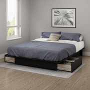 South Shore Gramercy Full/Queen Platform Bed (54/60'') with Drawers, Pure Black (10220)