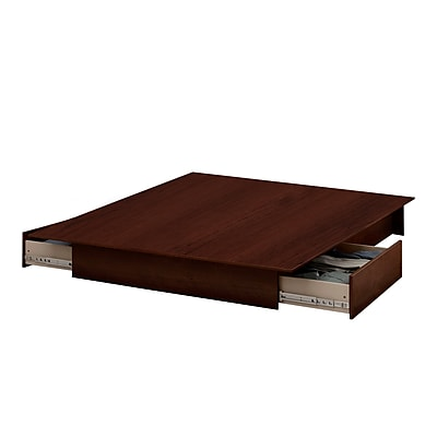 South Shore Step One Full/Queen Platform Bed (54/60'') with drawers, Sumptuous Cherry (10444)