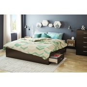 """South Shore Step One King Platform Bed (78"""") with 6 Drawers, Chocolate (3159249)"""