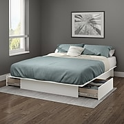 South Shore Gramercy Full/Queen Platform Bed (54/60'') with drawers, Pure White (10222)