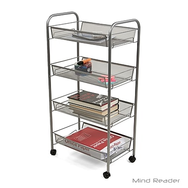 Superbe Mind Reader 4 Tier Mobile Office Cart, Silver (4AMESHT SIL)
