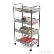 Mind Reader 4-Tier Mobile Office Cart, Silver (4AMESHT-SIL)