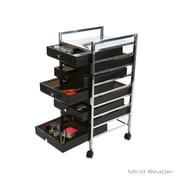 Mind Reader Storage Drawer Cart with 8-Drawers, Black/Silver (8DMTROLL-BLK)