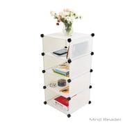Mind Reader Stackable 4-Cube Storage Organizer, White (SMODCUBE4-WHT)