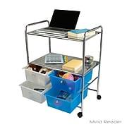 Mind Reader 2SHROLL-ASST Metal Binding Double Shelf Trolley with 4 Drawers, Multi