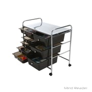 Mind Reader Metal Storage Cart with 9-Drawers, Black/Silver (3TROLL6-BLK)